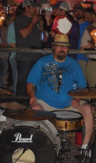 Tony Gillbeaux on Drums (He played the entire song with the tip jar on his head!)